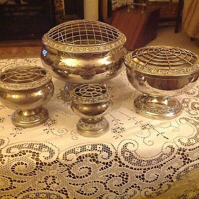 Set of 4 Vintage Silver Plated Rose Bowls  By Ianthe 18,14,9.5 and 7 cm diameter