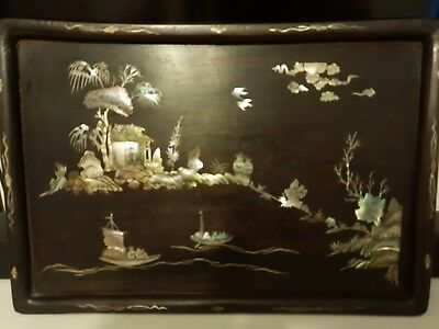 Antique Chinese Lacquer / Mother of Pearl Inlay Tray