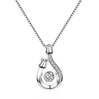 Water Drop Rose Pendant 925 Silver Chain Necklace Womens Ladies Jewellery
