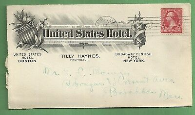 1903 Advertising Cover UNITED STATES HOTEL BOSTON & NEW YORK