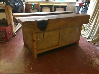 Old School Woodworking Bench Solid Wood Cupboards 1960s Vintage