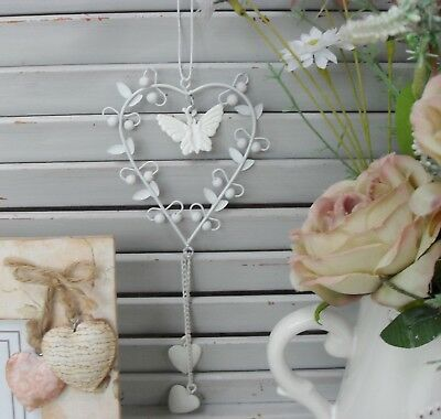 Metal Heart, Hanging Decoration with Bird, Flower, Butterfly Option