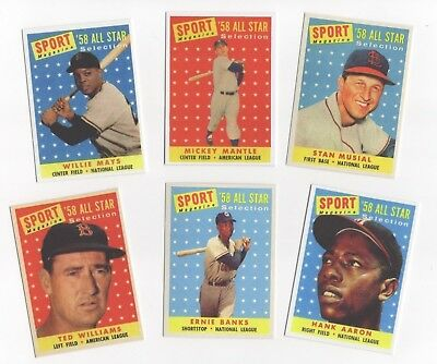 1958 All Star Lot X 6 Mickey Mantle H Aaron  Musial W Mays T Williams Banks Bin
