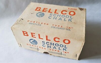 Retro Vintage 1970's Box Of Bellco Old School Coloured Chalk