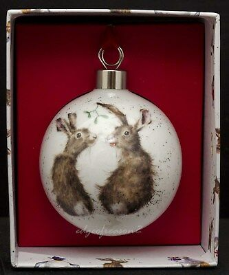 Royal Worcester Wrendale Designs China Christmas Bauble Hare