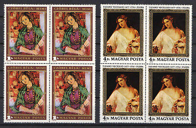Hungary 1974-1976. Tiziano and Czober paintings stamps in 4-blocks MNH (**)