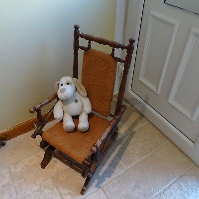 Antique Vintage American Child's Rocking Chair Seat Oak Frame Doggy not included