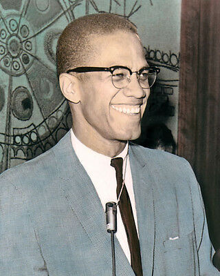 """MALCOLM X 1964 AFRICAN AMERICAN MUSLIM MINISTER 8x10"""" HAND COLOR TINTED PHOTO"""