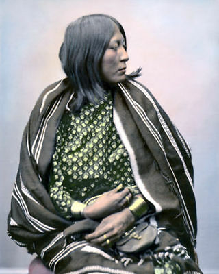 "Wife Of Cheevers Native American Indian Comanche 8X10"" Hand Color Tinted Photo"
