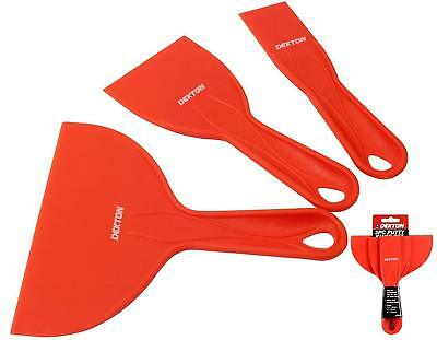 Dekton 3 pc Plastic Scraper Set Spatula Putty Knife Spreader Filler Small Large