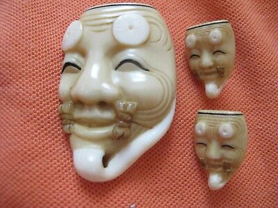Hand Caved Japanese Pin & Earrings Of A Famous God Mask Singed