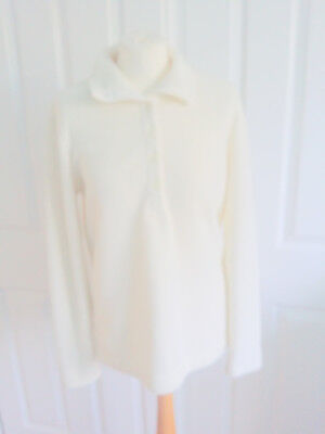 Cream Lands End Fleece top jumper ladies long sleeves Small Immaculate