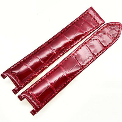 Red burgundy Bracelet 20*12 band Leather Genuine Crocodile fit Cartier Pasha