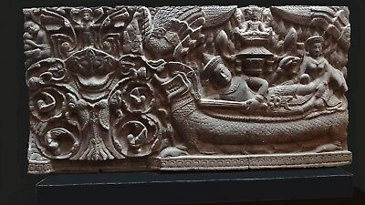 Khmer Sandstone Bas Relief Lintel 'vishnu Sleeping On The Cosmic Ocean'. Stone