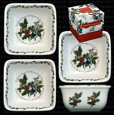 Portmeirion The Holly And The Ivy Set Of Three 3 Square Mini Dishes