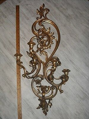 """Vintage Large 35"""" Syroco 5 arm Candle Holder Wall Sconce Hollywood Regency 1970s"""