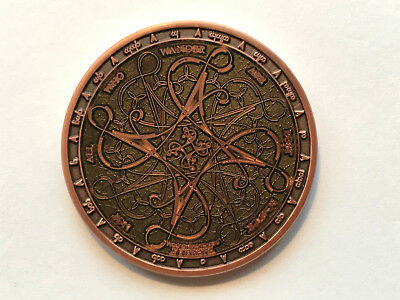 Geocoin Tengwar Green on Antique Copper XLE79 (AC)