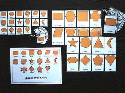 Shapes Cards Orange - PECS/Autism/Choice Board/Dementia/Speech Loss/Visual Aids