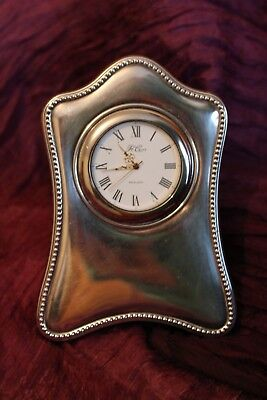 """R. Carr Fully Hallmarked Sterling Silver Wood Table Clock 5"""" x 3.5"""" Sheffield"""