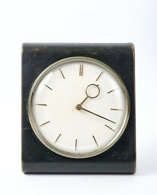 rare KIENZLE  later art deco  desk-clock with dark leather