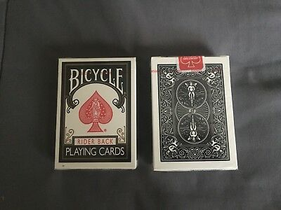 Bicycle Rider Back BLACK playing cards - Ohio made, SEALED in cellophane