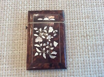 19th C English FAUX Tortoise And Mother Of Pearl Card Case