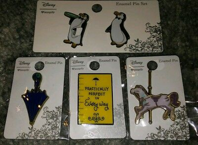 Disney Mary Poppins 5 pins Practically Perfect, Penguins Umbrella Horse Carousel