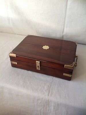 Elegant Antique Campaign Style Collectors Box / Gun Box