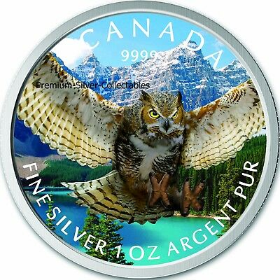 2015 Canada Bird of Prey Horned Owl Colorized Coin Series 1 Ounce Pure Silver!