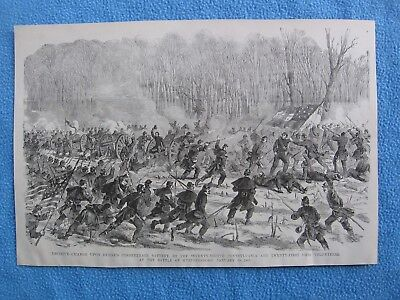 1884 Civil War Print - 78th Penn & 21st Ohio Charge at Battle of Stones River