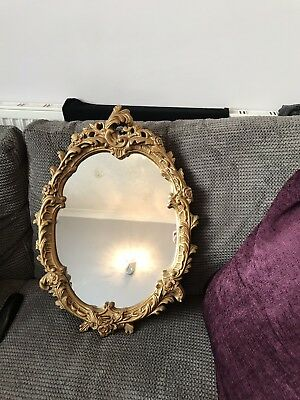 Antique Ornate Oval Gold Mirror Vintage Roccoco Style French Plaster