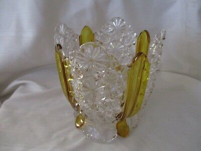 """EAPG Amberette Paneled Daisy & Button footed bowl c.1866 Duncan & Sons 4.5"""""""