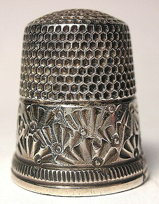 Ketcham & McDougall (KMD) Sterling Thimble with Wide Palmette Band  c.1890s