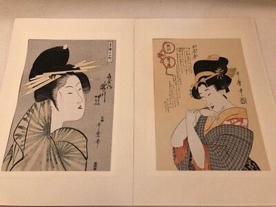 Ukiyo-e  Utamaro 13 blue Eisen Keisai, Beauty Reading a Scroll, Original Japanes