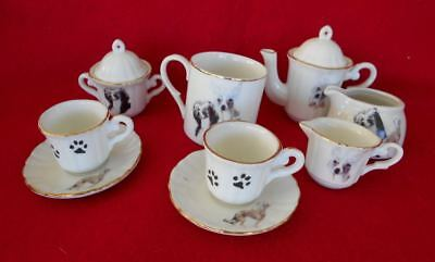 Old Porcelain Chinese Crested 12 Piece Children's Tea Set Dishes Dog