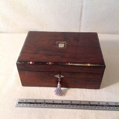 Handsome Victorian Sewing/ Jewellery Box With Great Interior And Working Key