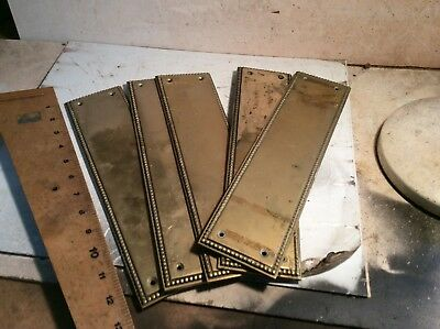 Cast brass door finger plates x 5 Georgian design