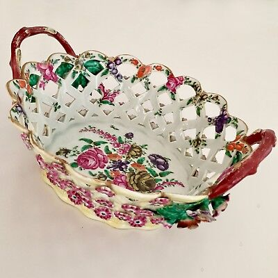 Rare Worcester pierced basket with applied flowers and leaves, ca 1770