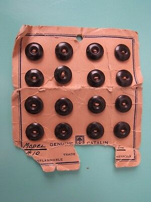 Vintage 1930's, Genuine Catalin (Bakelite) 2-Hole Buttons Card Of 16 , Look !