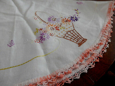 """Vtg. Floral LINEN Embroidered Basket -Round~TABLECLOTH~As is~or CUTTER! 25"""" diam"""