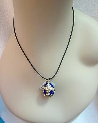 NWT Russian Faberge Blue Enamel Egg Pendant Necklace Fleur de Lis Crystals Gold