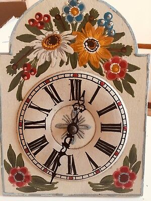 Vintage  Square  Wood  Clock With Pendulum- Weights And Chime