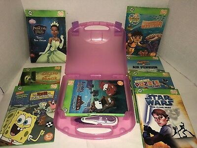 Leap Frog Tag Reader Interactive Books, Case, and Pen  Lot of 8 books