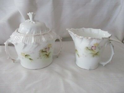 Antique Victorian white sugar & creamer set hand painted flowers gold purple
