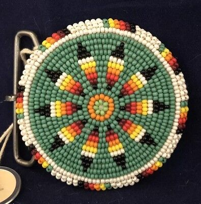 Super Shoshone Beaded Belt Buckle- Feather Design With Pearlized Beads