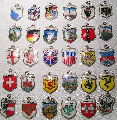 Lot of 30 Vintage 800 Silver & Enamel Shield Charms of Countries and Cities
