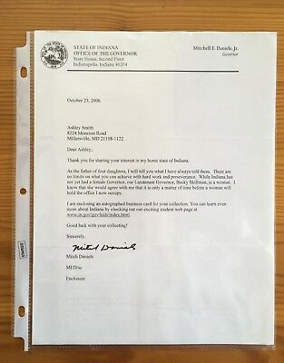 MITCH DANIELS-Autographed/Signed LETTERHEAD-INDIANA