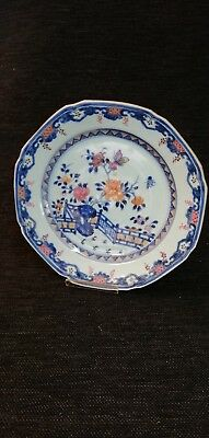 Antique Chinese Porcelain Octagonal Plate. Peony And Fence