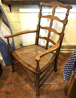 Antique Victorian / Edwardian Ladder Back Carver Chair Rush Seat