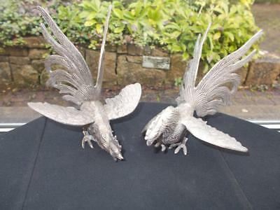 Pair Of Antique Silver Plated Fighting Cocks Menu Holders In Good Condition
